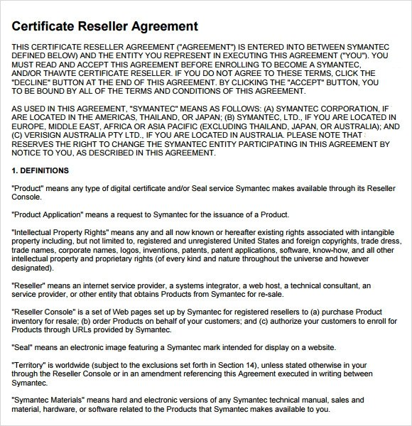 Reseller Agreement Template  NodeCvresumePaasproviderCom