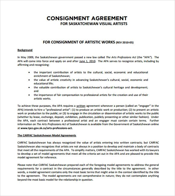 9+ Sample Consignment Agreements Sample Templates