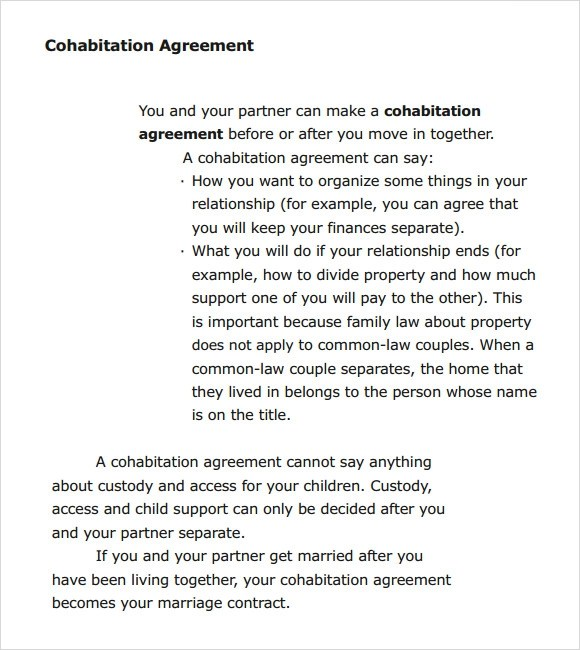 7+ Cohabitation Agreement Samples, Templates, Examples Sample