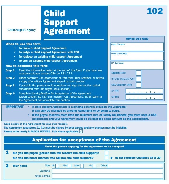 8+ Sample Child Support Agreements Sample Templates - sample child support agreement