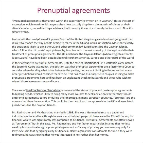 Sample Prenuptial Agreement - 8+ Examples, Format - sample prenuptial agreement template