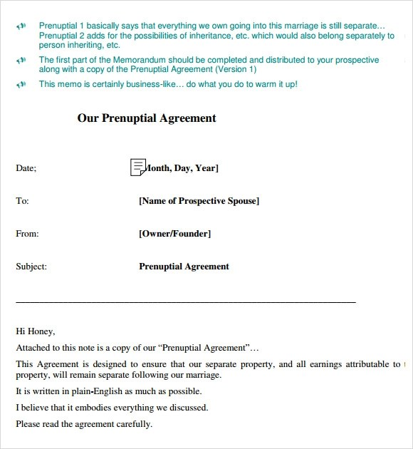 Sample Prenuptial Agreement Example | How To Write A Retail Resume