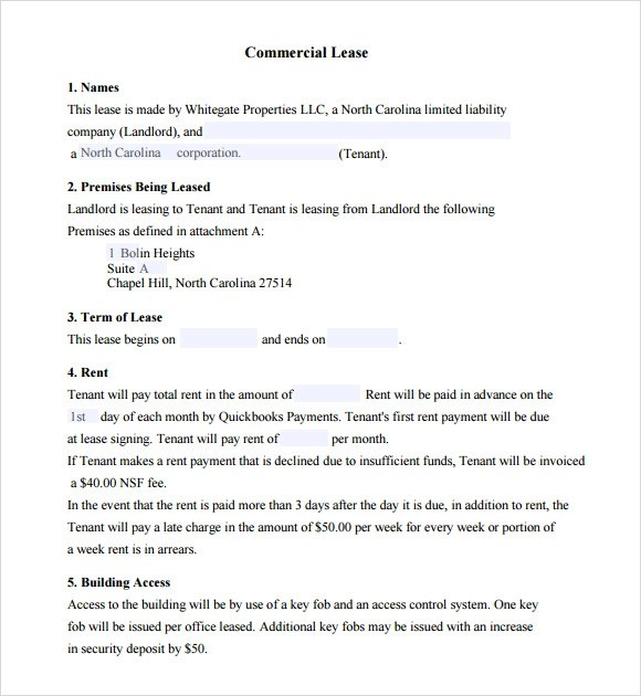 commercial lease agreement template - commercial lease agreement template free