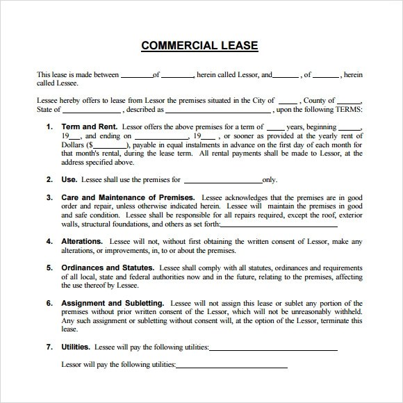 8+ Sample Commercial Lease Agreements Sample Templates - lease document template
