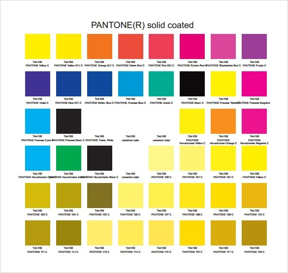 7+ Sample Pantone Color Charts Sample Templates - sample pms color chart