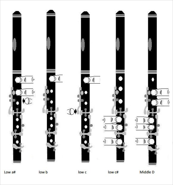 A flat Flute finger Chart