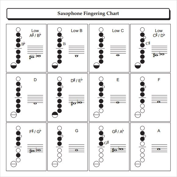 9+ Sample Saxophone Fingering Charts Sample Templates - saxophone fingering chart