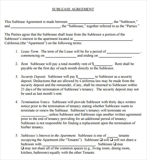 Sublease Agreement - 6+ Example, Format - sublease agreement