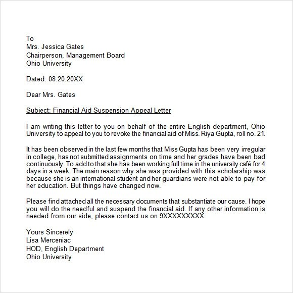 8 Appeal Letters \u2013 Free Samples , Examples  Format Sample Templates - How To Write Appeal Letter Sample