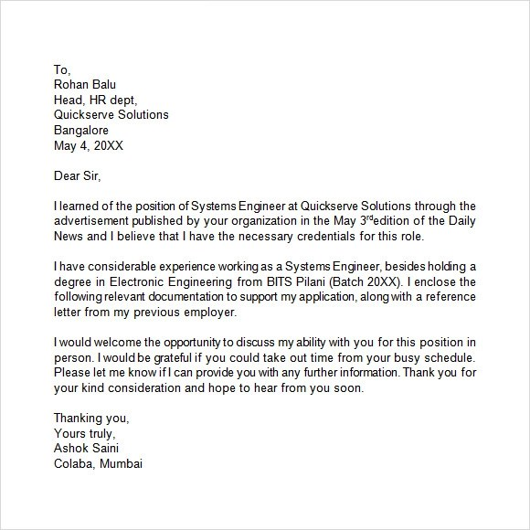 example - Latest Cover Letter Format
