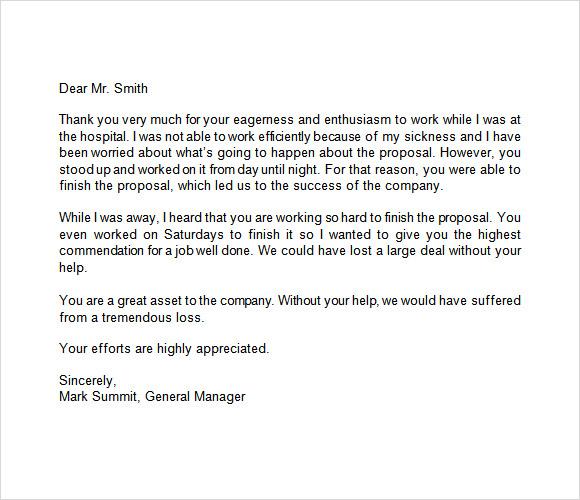 appreciation letter 9 free samples examples format commendation letter format