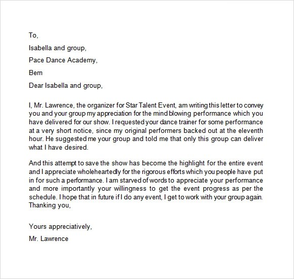 10 Appreciation Letters \u2013 Free Samples , Examples  Format Sample - sample letter of appreciation
