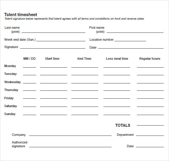 ... 9+ Blank Timesheet Templates   Free Sample, Example, Format   Free  Blank Time ...  Free Blank Time Sheets