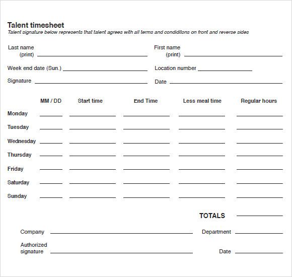 ... 9+ Blank Timesheet Templates   Free Sample, Example, Format   Free  Blank Time ...  Free Blank Time Sheets