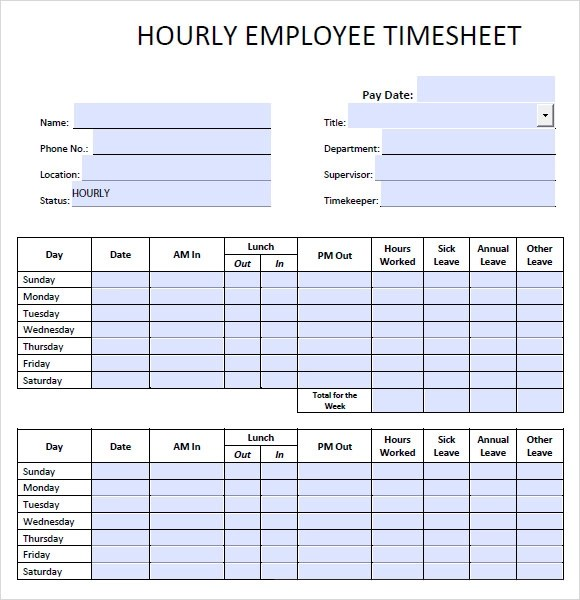 10+ Blank Timesheet Templates \u2013 Free Sample, Example, Format - free timesheet forms