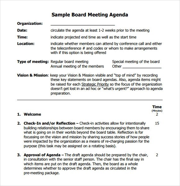 format of board meeting agenda - Thevillas - format for an agenda