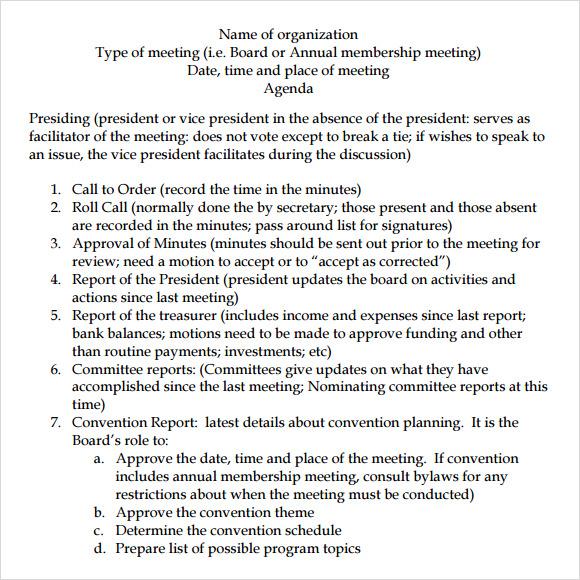 board meeting agenda template word - sample board meeting agenda