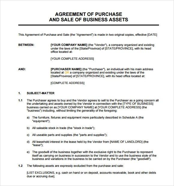Sample Asset Purchase Agreement - 12+ Documents in Word, PDF