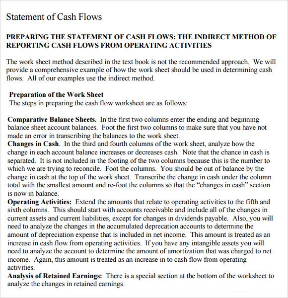 Sample Cash Flow Statement - 7+ Examples, Format - method of statement sample