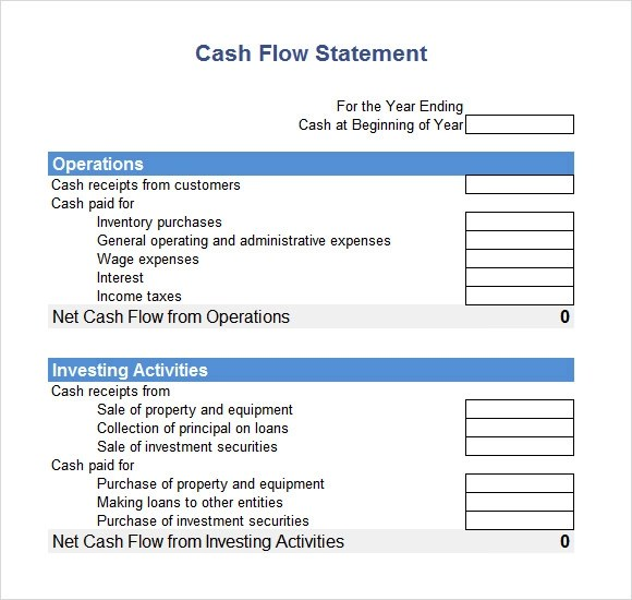 Sample Cash Flow Statement - 7+ Examples, Format - cash flow statement