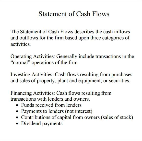 what is a personal cash flow statement