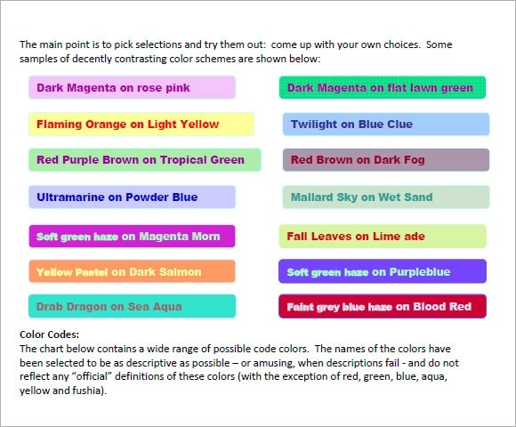 7+ HTML Color Code Chart Templates - Free Sample, Example, Format - general color chart template