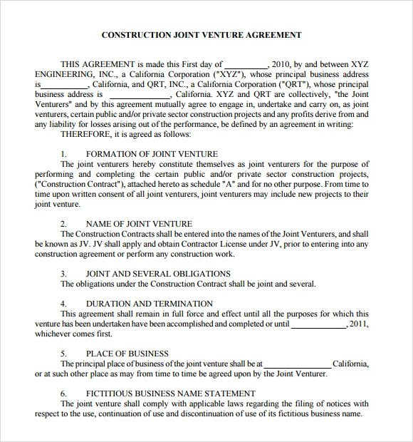 Project Joint Venture Agreement Sample  Resume Maker Create