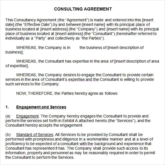 business consulting agreement – Standard Consulting Agreement