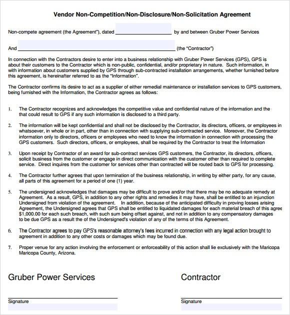 8+ Sample Non Compete Agreements Sample Templates