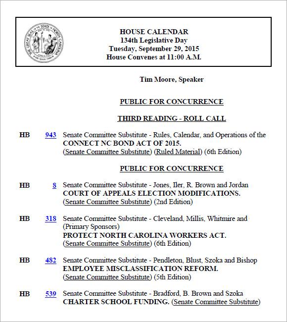 8 Agenda Calendar Templates \u2013 Free Samples , Examples  Format - sample agenda calendar