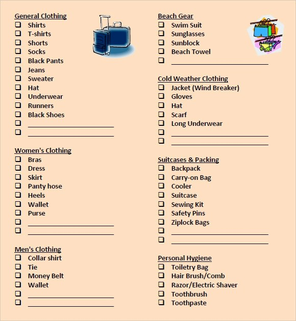 9 Packing List Templates \u2013 Free Samples , Examples  Format Sample