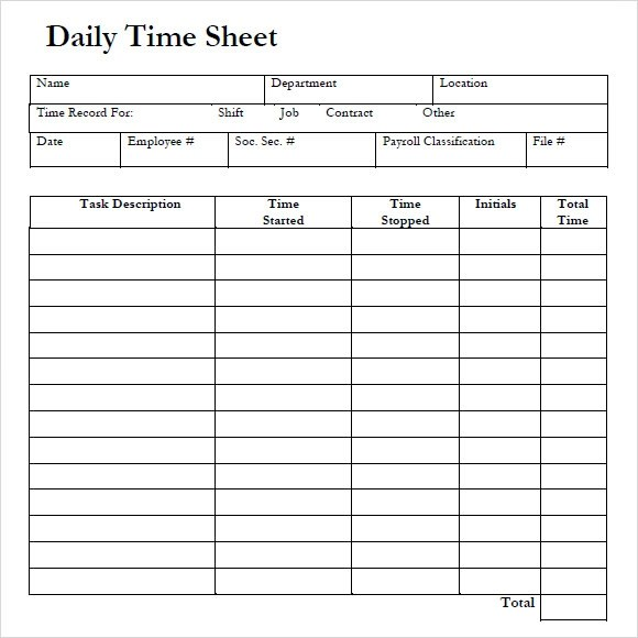 8+ Sample Daily Timesheet Templates Sample Templates
