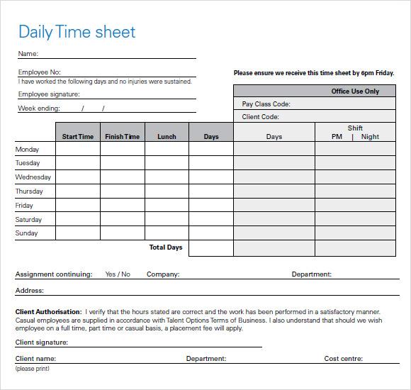time sheet or timesheet
