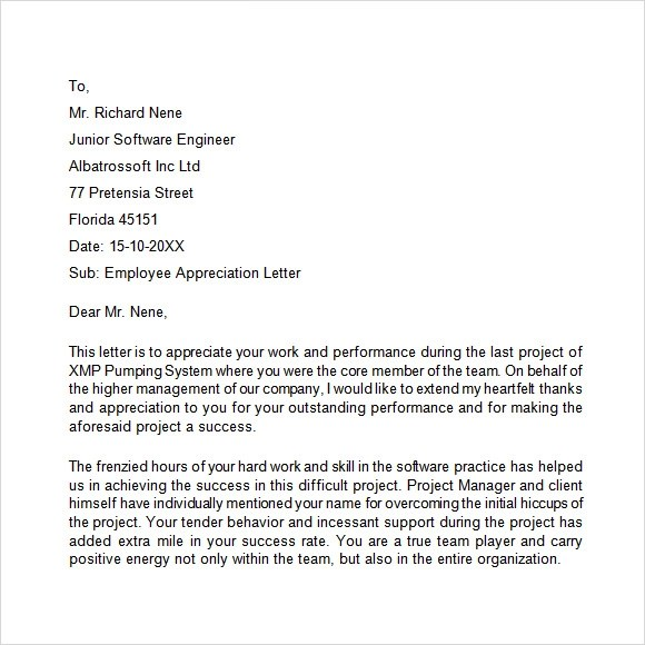 Write Letter Employees Appreciation employee appreciation letter