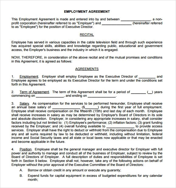 Individual Employment Agreement Template U2013 Sample Executive Agreement .