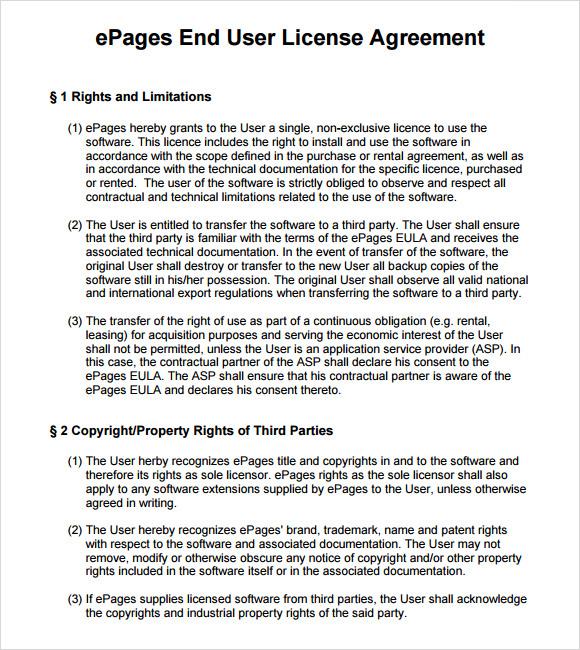 8+ Sample License Agreements \u2013 PDF, DOC Sample Templates