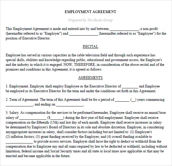 6+ Sample Executive Agreements Sample Templates - sample executive agreement
