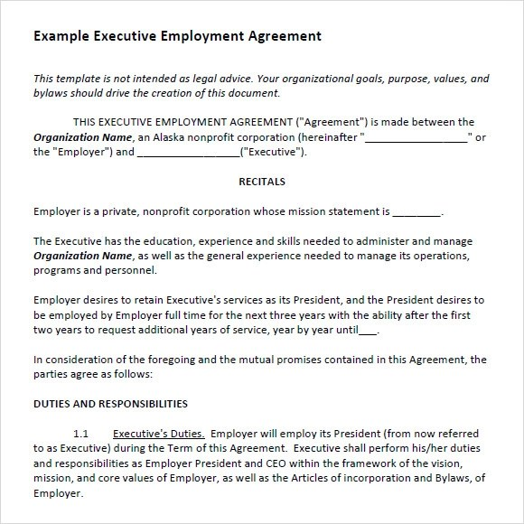 Sample Executive Agreement - 5+ Documents in PDF, Word - sample executive agreement