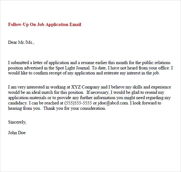 Sample Follow Up Email - 5+ Examples, Format - follow up letter after sending resume