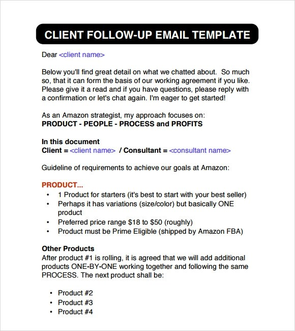 6+ Sample Follow Up Emails Sample Templates
