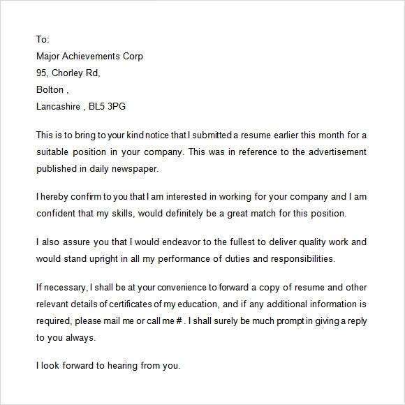 thank you letter after sending resumes