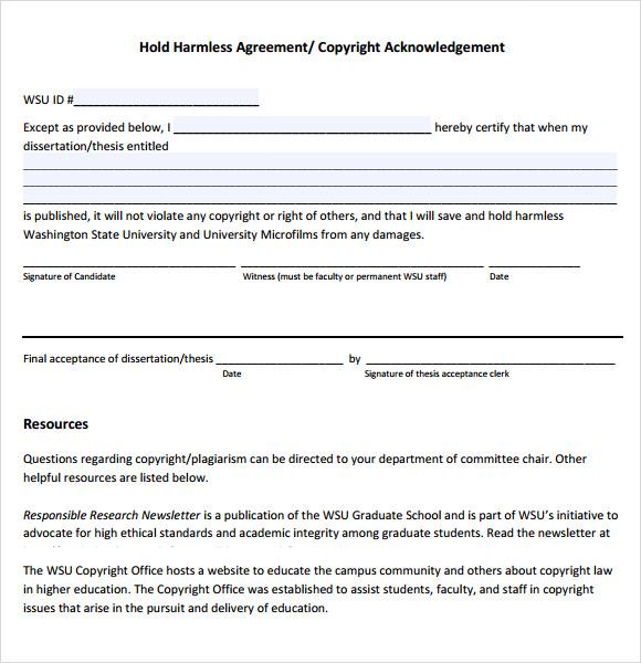 free hold harmless agreement - Canasbergdorfbib