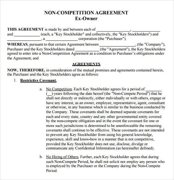 Non Compete Agreement Samples, Examples, Templates - 7+ Documents in