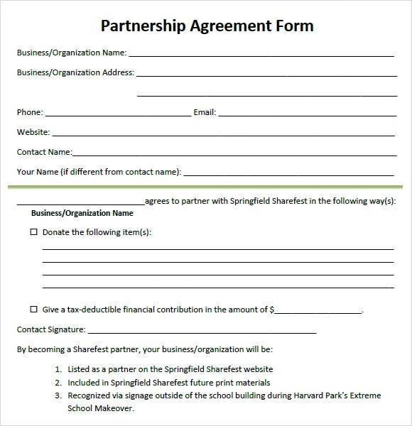 8+ Sample Partnership Agreements Sample Templates - Free Partnership Agreement Form
