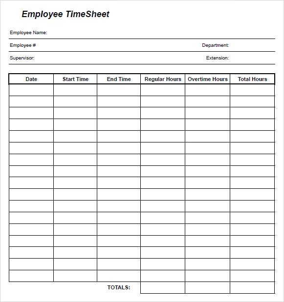 sample of timesheets for employees