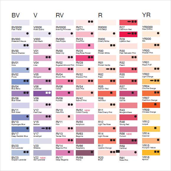 general color chart template - Teacheng - general color chart template