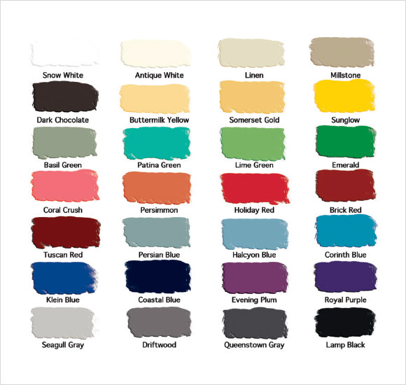 8+ Sample General Color Charts Sample Templates - sample general color chart