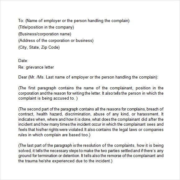 14+ Sample Grievance Letters - PDF, Word