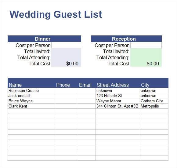 phone list template excel templatebillybullock - guest list sample