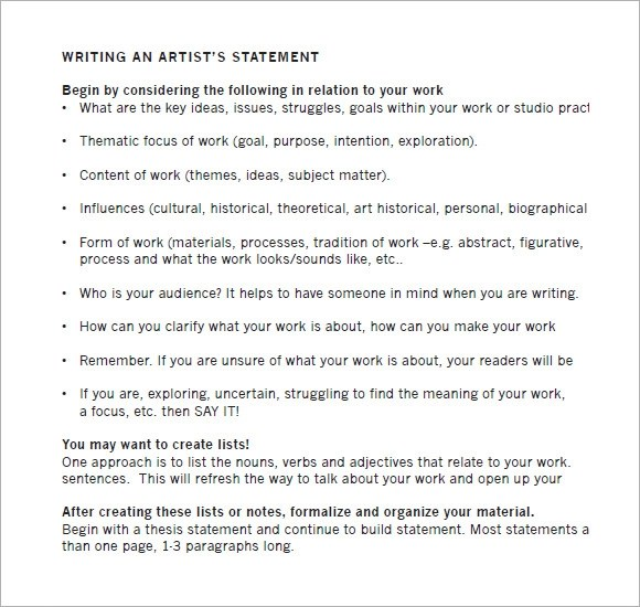 How To Write The Perfect Artist Statement The Gallery For Instagram - sample artist statement